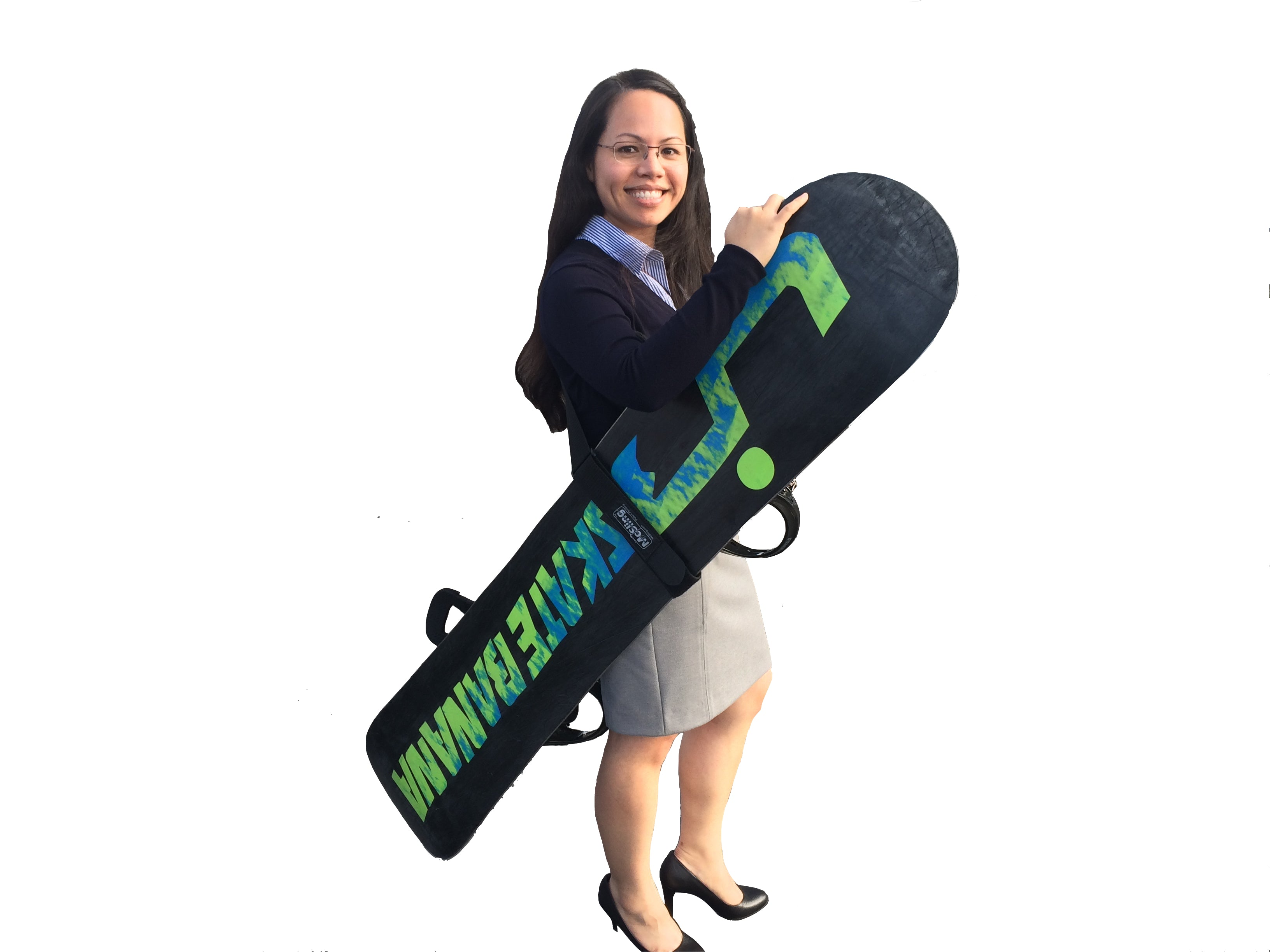 McSling4Snow is a black color snowboard carry strap, by wrapping around the center of the board and carrying on ones shoulder