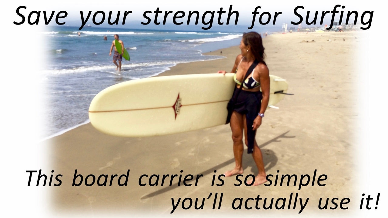 McSling4Surf is a hands free surfboard carry strap, surfboard carrier, that lets you save your strength for surfing