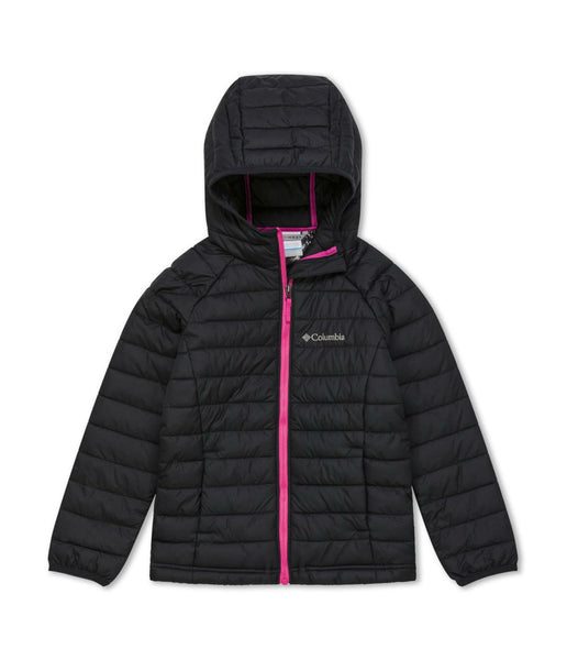 GIRL'S POWDER LITE HOODED JACKET (AGES 6-10) - BLACK