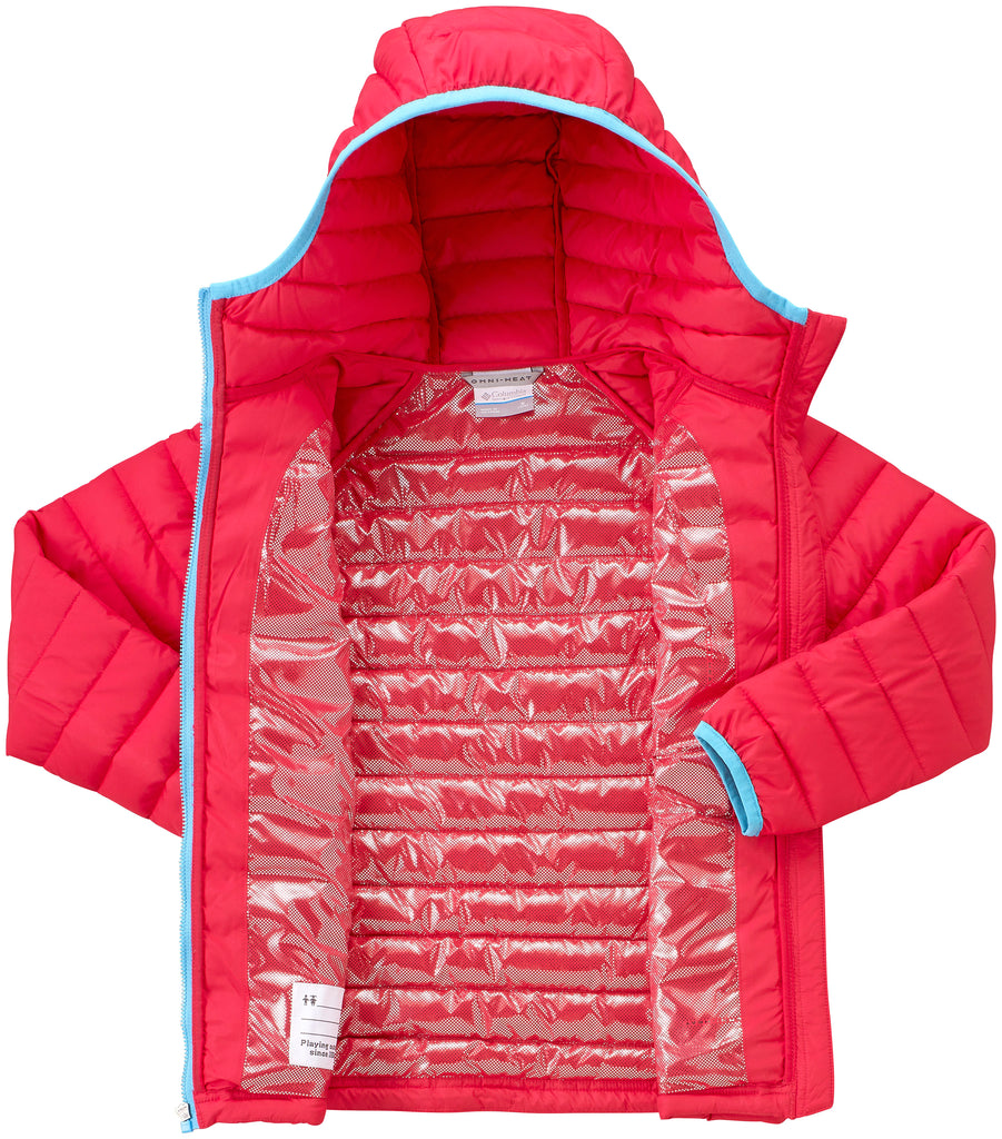 GIRL'S POWDER LITE HOODED JACKET (AGES 4-10) -RED CAMELLIA