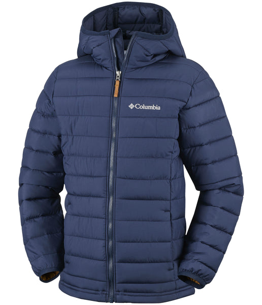 BOY'S POWDER LITE HOODED JACKET (AGES 4-10) - COLLEGIATE NAVY
