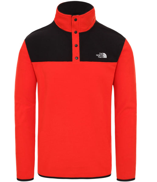 MEN'S TKA GLACIER SNAP BACK PULLOVER FLEECE - FIERY RED/TNF BLACK