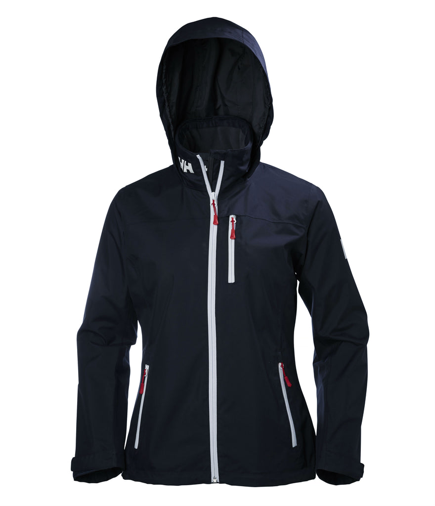 WOMEN'S CREW HOODED MIDLAYER JACKET - NAVY