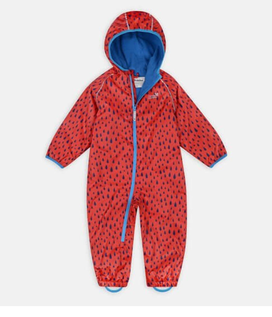 ECOSPLASH FLEECE LINED WATERPROOF PUDDLESUIT - RED RAINDROPS