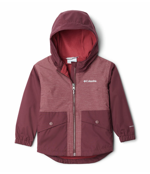 GIRL'S RAINY TRAILS FLEECE LINED JACK (AGES 6 - 8) - MALBEC, MALBEC SLUB