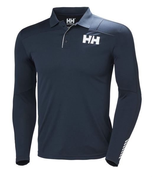 HH LIFA ACTIVE LIGHT LONG SLEEVE POLO TEE - NAVY