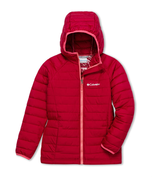 GIRL'S POWDER LITE HOODED JACKET (AGES 4-10) - POMEGRANATE