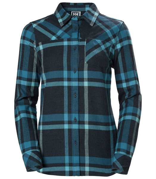 WOMEN'S CLASSIC CHECK LS SHIRT - NORTH SEA BLUE PLAID