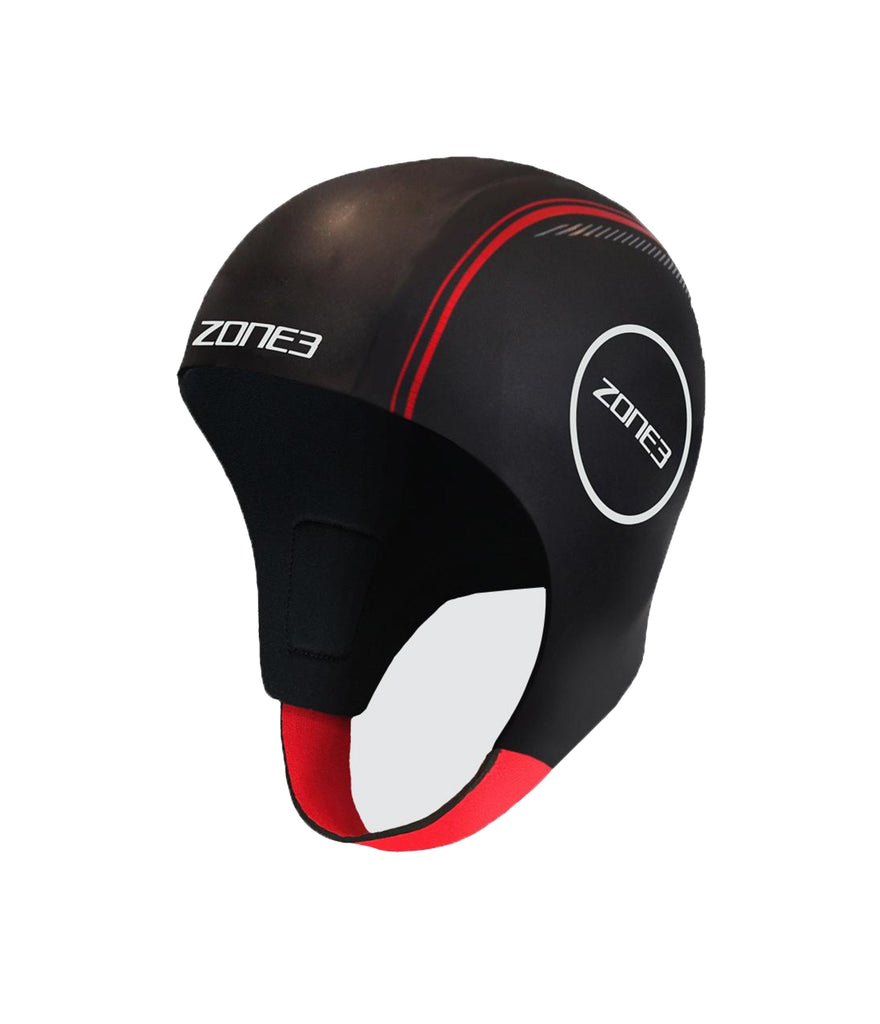 NEOPRENE SWIM CAP - BLACK/RED