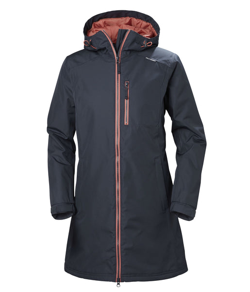 WOMEN'S LONG BELFAST WINTER JACKET - GRAPHITE BLUE