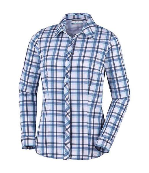 WOMEN'S SATURDAY TRAIL II STRETCH PLAID LONG SLEEVE SHIRT - BLUE DUSK
