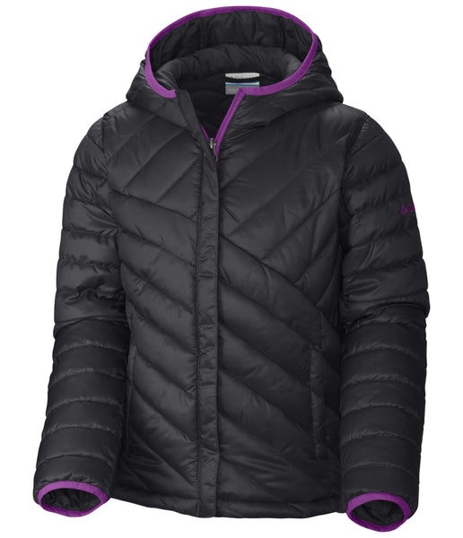 GIRLS' POWDER LITE PUFFER (AGES 10 - 18) - DEEP BLUSH AND BLACK