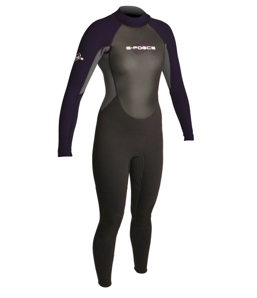 WOMEN'S G-FORCE 3MM FLATLOCK FULL WETSUIT - BLACK/MULBERRY