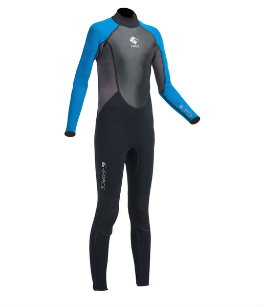 JUNIOR G-FORCE 3MM FLATLOCK FULL WETSUIT - BLACK/ZAFER BLUE