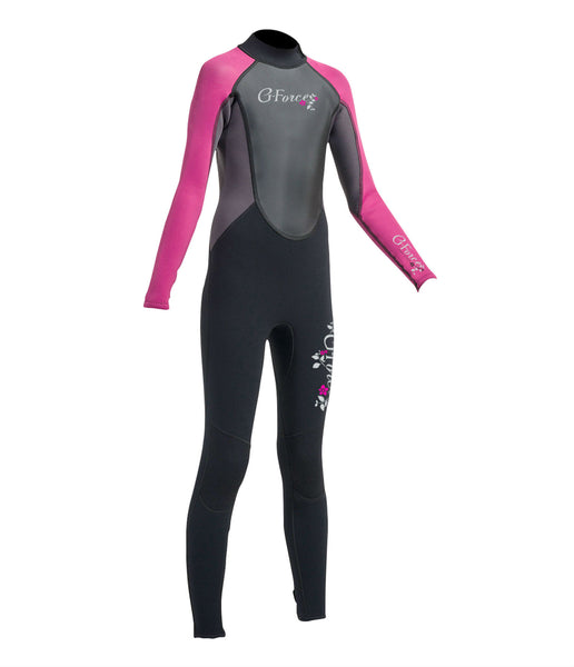 JUNIOR G-FORCE 3MM FLATLOCK FULL WETSUIT - BLACK/PINK