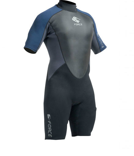 MEN'S G-FORCE 3MM FLATLOCK SHORTIE WETSUIT - BLACK/NAVY