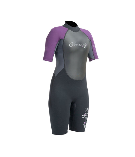 WOMEN'S G-FORCE 3MM FLATLOCK SHORTIE WETSUIT - BLACK/MULBERRY