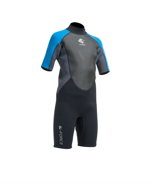 JUNIOR G-FORCE 3MM FLATLOCK SHORTIE WETSUIT - BLACK/ZAFER BLUE