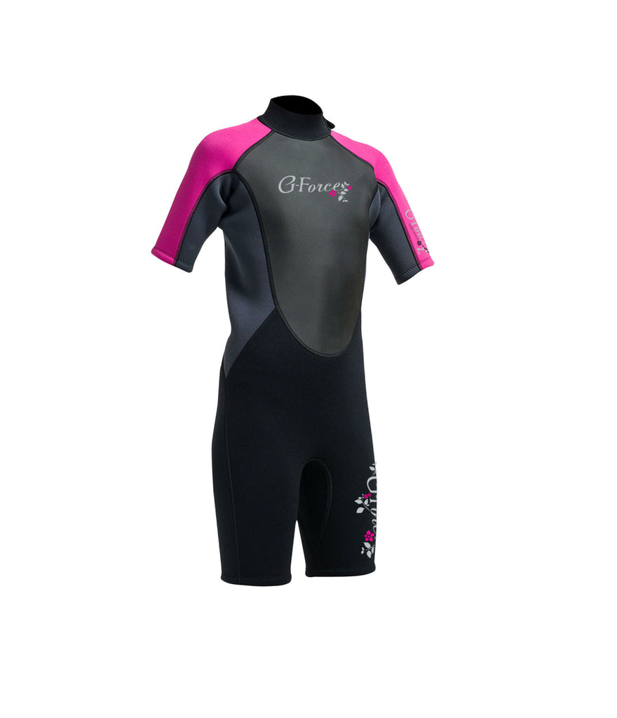 JUNIOR G-FORCE 3MM FLATLOCK SHORTIE WETSUIT - BLACK/PINK