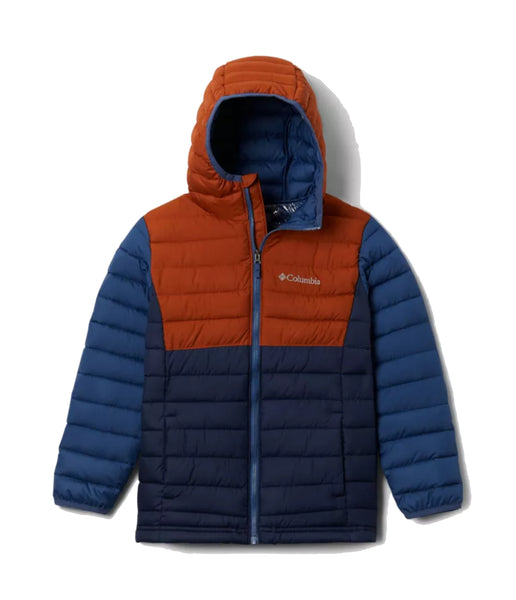 BOY'S POWDER LITE HOODED JACKET (AGES 4-8) - COLLEGIATE NAVY/DARK ADOBE