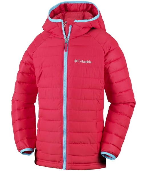 GIRL'S POWDER LITE HOODED JACKET (AGES 10-16) -RED CAMELLIA