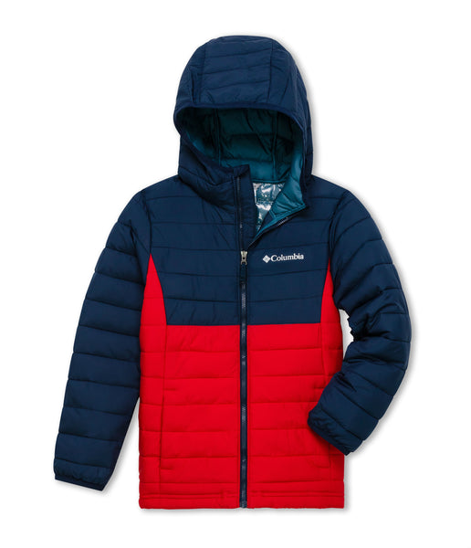 BOY'S POWDER LITE HOODED JACKET (AGES 4-10) - MOUNTAIN RED