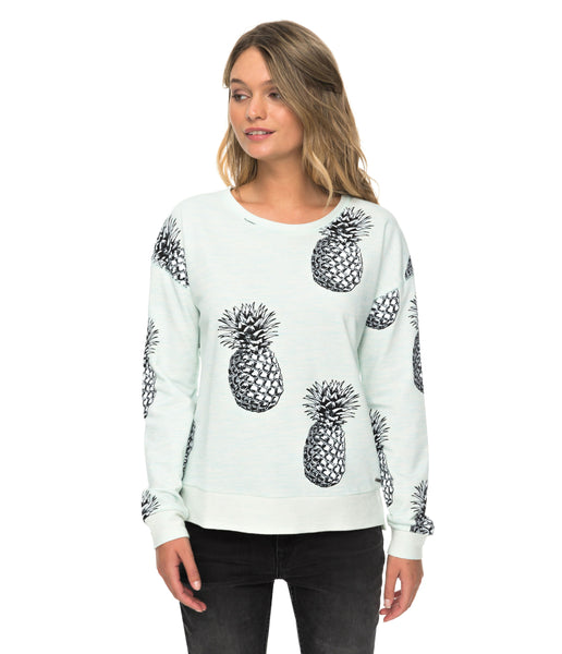 WOMEN'S PUERTO ADVENTURE CREW NECK SWEATER- BLUE LIGHT BIG PINEAPPLE
