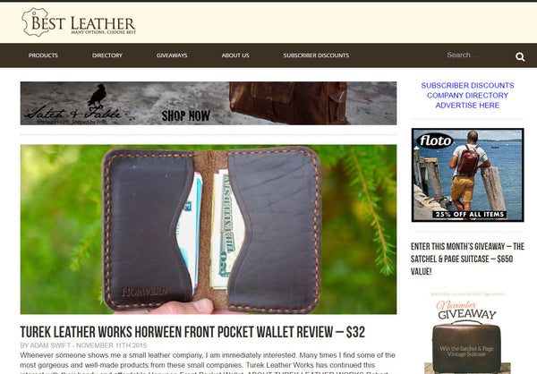 BestLeather.Org Review of Turek Leather Works Front Pocket Horween Leather Wallet
