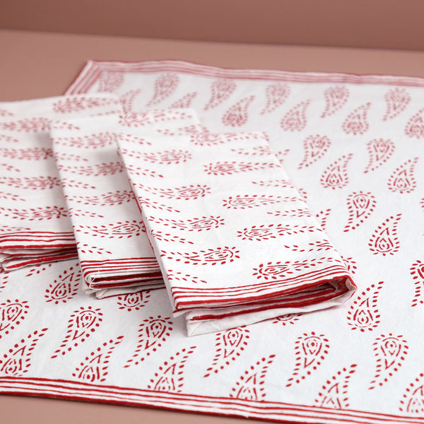 Abbey Paisley Block Print Cotton Napkins / 4pc