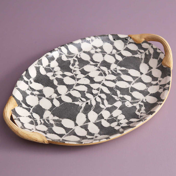 Handled Small Oval Serving Platter / Aspen / Black