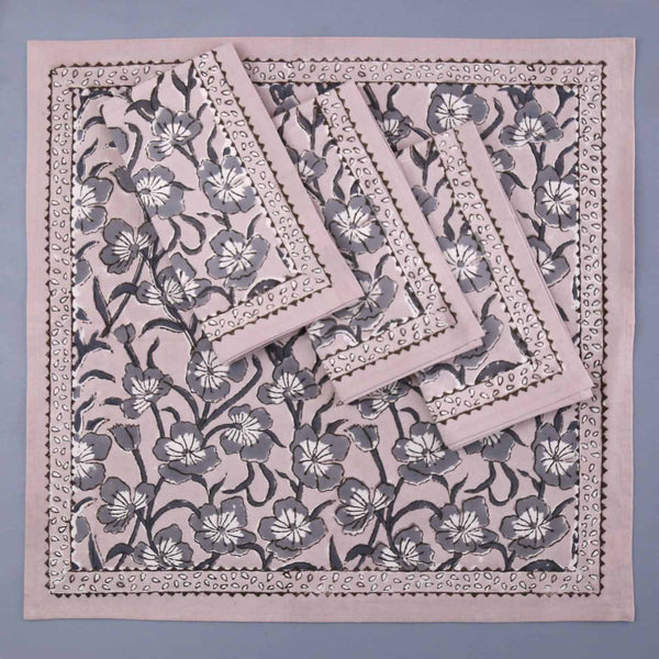 Avars Taupe Block Print Cotton Napkins / 4pc