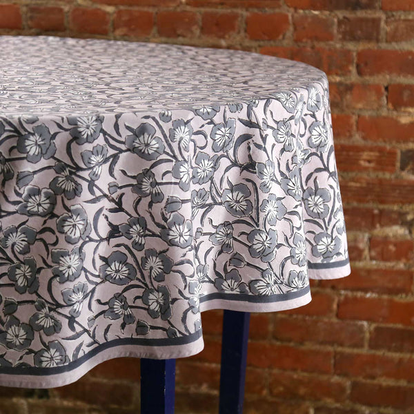 Avars Taupe Block Print Round Tablecloth