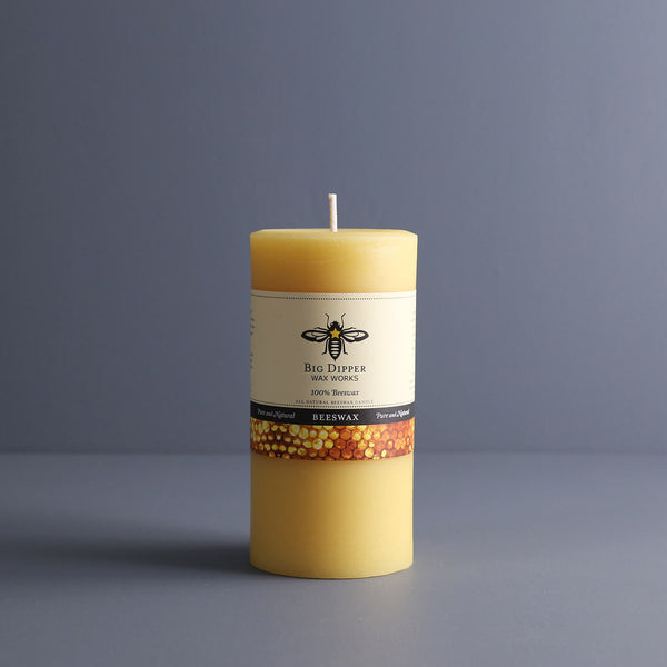 Big Dipper Beeswax Pillar Candle / Tall Wide Natural