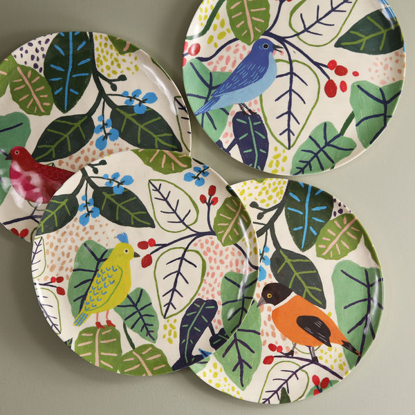 Bird & Foliage Melamine Plates / Set of 4