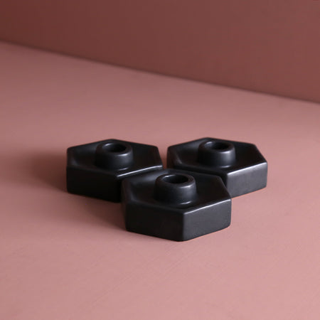 Ceramic Hexagon Taper Candle Holder / Black