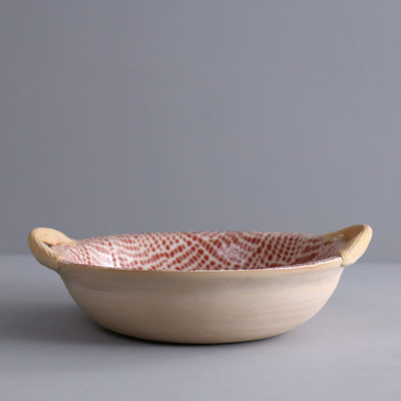 Handled Round Veggie Bowl / Braid / Poppy