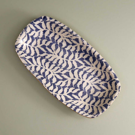 Oblong Serving Tray / Fern / Cobalt