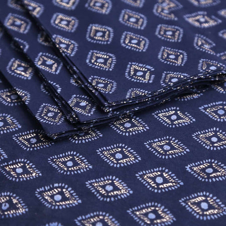 Block Print 4pc Napkin Set / Essa Navy