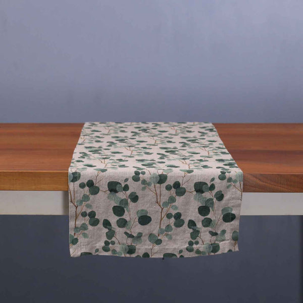 Eucalyptus on Natural Linen Table Runner