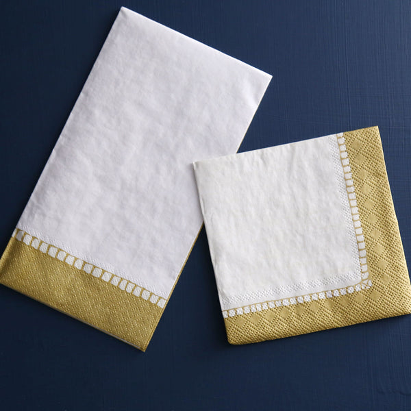 Caspari Paper Cocktail Napkins / Linen Gold Border
