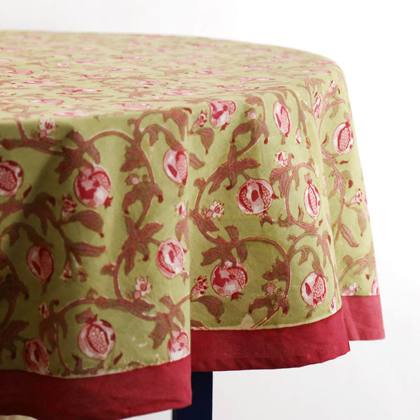 Granada Red Block Print Round Tablecloth 90""