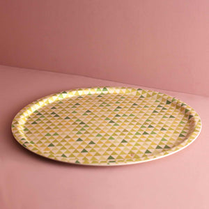 Birch Laminate Serving Tray / Green Triangle