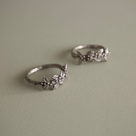 Pewter Napkin Rings / Holly / Pair