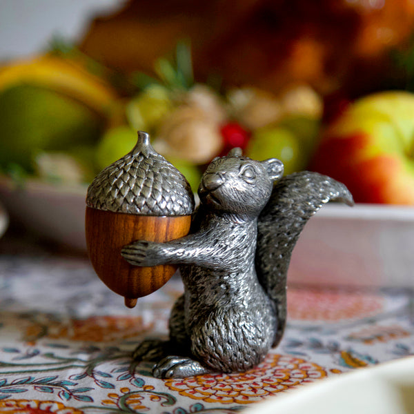 Pewter Salt & Pepper Shakers / Squirrel & Acorn