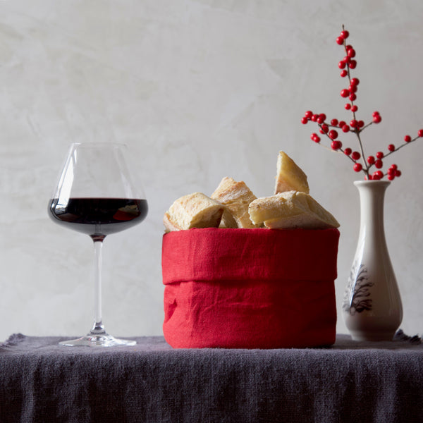 Linen Bread Basket / Red