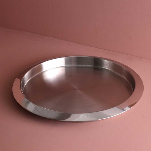 "Brushed Stainless 16"" Round Tray"