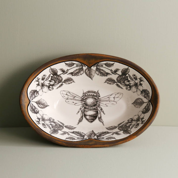 Handmade Large Serving Dish/ Honey Bee w/ Apple Blossom
