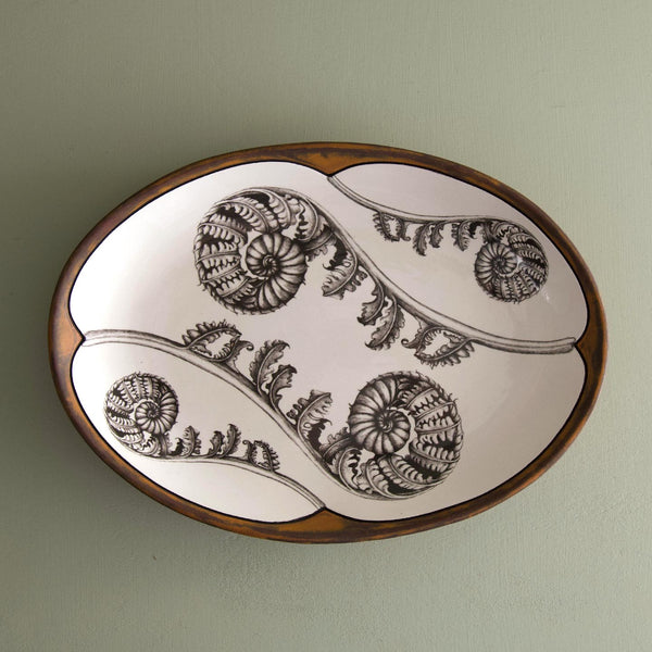 Handmade Small Oval Platter / Coiled Wood Fern