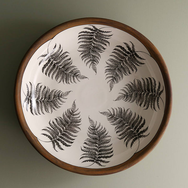 "Handmade 15"" Pasta Bowl / Wood Fern"