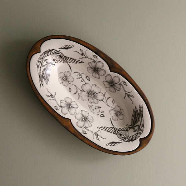 Handmade Oblong Serving Dish/ Hummingbird #3